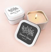 Personalized Floral Silhouette Square Candle Tins