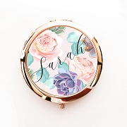 Personalized Floral Compact Mirrors