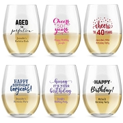 Birthday Party Stemless Wine Glasses (9 oz or 15 oz)