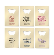 Personalized Gold Credit Card Bottle Opener - 12 popular Wedding Designs