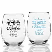 True Love Is The Greatest Adventure Stemless Wine Glasses (9 oz or 15 oz)