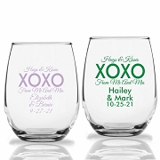 Hugs & Kisses XOXO From Mr. and Mrs. Stemless Wine Glasses (9 oz or 15 oz)