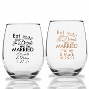 Eat Drink and be Married Personalized Stemless Wine Glasses (9 oz or 15 oz)