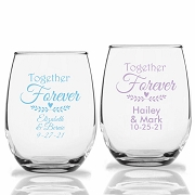 Together Forever Personalized Stemless Wine Glasses (9 oz or 15 oz)
