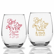 Best Day Ever Personalized Stemless Wine Glasses (9 oz or 15 oz)