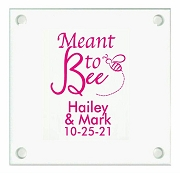 Meant To Bee Personalized Wedding Coasters