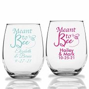 Meant To Bee Personalized Stemless Wine Glasses (9 oz or 15 oz)