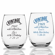 Vintage Aged To Perfection Personalized Stemless Wine Glass (9 oz or 15 oz)