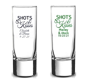 Shots And Kisses Personalized Tall Shot Glasses