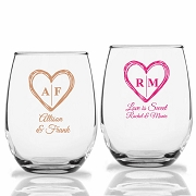 Rustic Heart with Monogram Personalized Stemless Wine Glasses (9 oz or 15 oz)