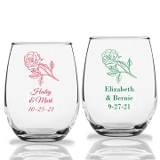 Rose Design Personalized Stemless Wine Glass (9 oz or 15 oz)