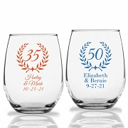 Birthday and Anniversary Personalized Stemless Wine Glass (9 oz or 15 oz)
