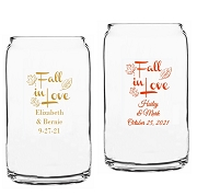 Fall In Love Personalized Beer Can Glasses (16 oz)