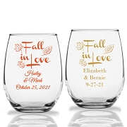 Fall In Love Personalized Stemless Wine Glass (9 oz or 15 oz)