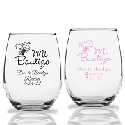 Mi Bautizo Personalized Stemless Wine Glass (9 oz or 15 oz)