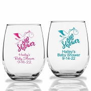 Baby Shower Stemless Wine Glasses with Stork Design (9 oz or 15 oz)