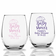 Baby Shower Party Stemless Wine Glasses (9 oz or 15 oz)