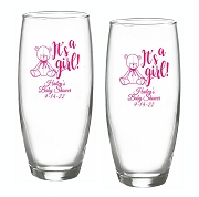 It's A Girl Teddy Bear Stemless Champagne Glasses (9 oz)