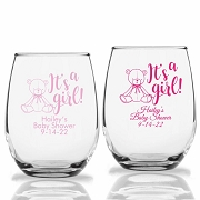 It's A Girl Teddy Bear Personalized Stemless Wine Glasses (9 oz or 15 oz)