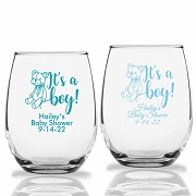 It's A Boy Teddy Bear Personalized Stemless Wine Glasses (9 oz or 15 oz)