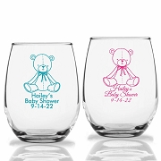 Baby Teddy Bear Personalized Stemless Wine Glasses (9 oz or 15 oz)