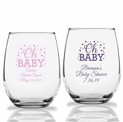 Personalized Stemless Wine Glass Oh Baby (9oz or 15 oz)