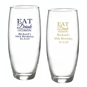 Eat Drink and  Celebrate Stemless Champagne Glasses (9 oz)