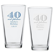 40 And Fabulous Birthday Pint Glass (16 oz)