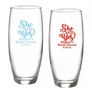 She Said Yes Stemless Champagne Flutes (9 oz)