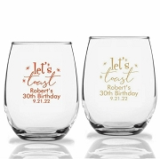 Let's Toast Personalized Stemless Party Time Wine Glass (9 oz or 15 oz)
