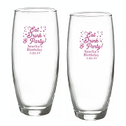 Eat Drink and Party Stemless Champagne Glasses (9 oz)