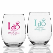 I Do Ring Personalized Stemless Wine Glasses (9 oz or 15 oz)