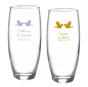 Kissing Doves Personalized Stemless Champagne Glasses (9 oz)