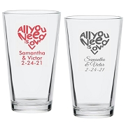 All You Need Is Love Personalized Pint Glass (16 oz)