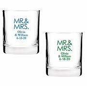 Mr. & Mrs. Personalized Shot Glass Favors (2 oz)