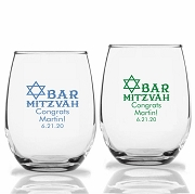Bar Mitzvah Personalized Stemless Wine Glasses (9 oz or 15 oz)