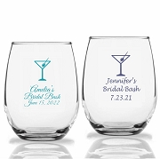 Martini Glass Personalized Stemless Wine Glass (9 oz or 15 oz)