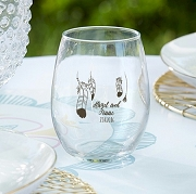 Bohemian Feather Stemless Wine Glass Favors (9 oz)