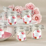 Floral Design Hinged Glass Jar Wedding Favors (set of 12)
