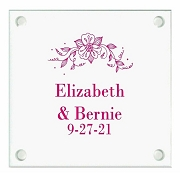 Flower Bouquet Personalized Wedding Coasters