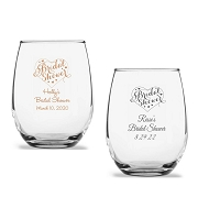 Bridal Shower Personalized Stemless Wine Glass (9 oz or 15 oz)