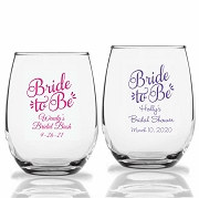 Bride To Be  Personalized Stemless Wine Glass (9 oz or 15 oz)