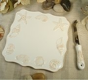 Beach Design Ceramic Cheese Board With Knife