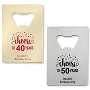 Cheers Birthday Design Credit Card Bottle Opener