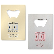 Hugs & Kisses From Mr. & Mrs.  Personalized Credit Card Bottle Opener