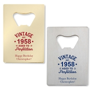 Vintage Aged To Perfection Personalized Credit Card Bottle Opener