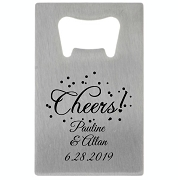 Personalized Credit Card Bottle Opener  - Cheers