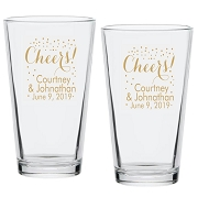 Cheers Party Time Beer Pint Glasses (16 oz)