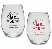 Cheers Personalized Birthday Stemless Wine Glass (9 or 15 oz)