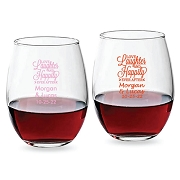 Love Laughter & Happily Ever After Personalized Stemless Wine Glass (9 oz or 15 oz)